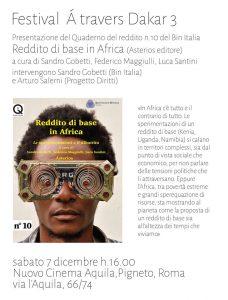 Roma 7 dicembre 2019: Reddito di base in Africa. Le sperimentazioni e il dibattito
