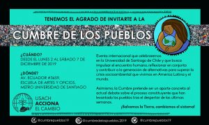 Sommet des peuples : le contre-sommet à la COP25, du 2 au 7 décembre à Santiago du Chili
