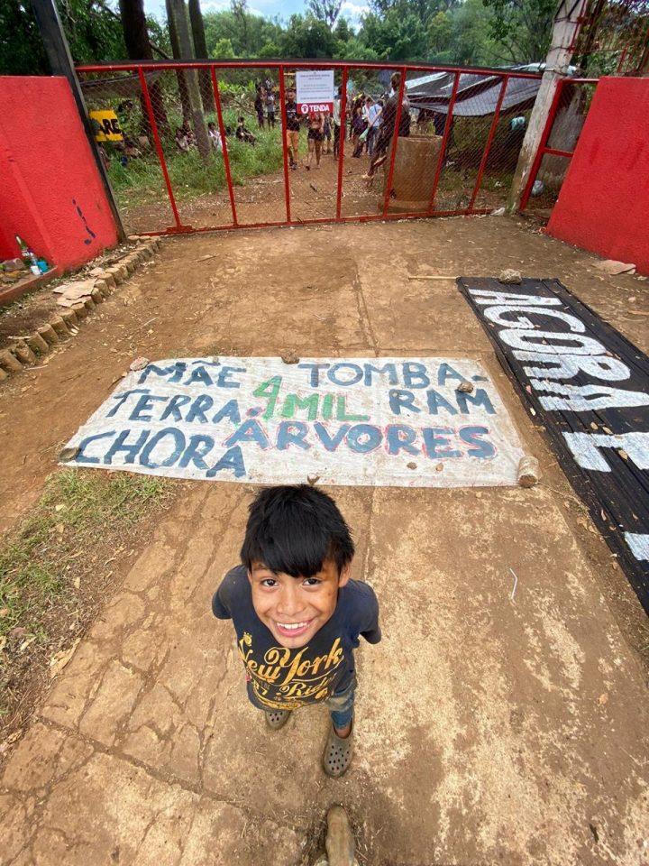 Indígenas do povo Guarani protestam contra derrubada de 4 mil árvores por construtora