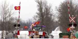 Police arrest Mohawk demonstrators at the blockage on Tyendinaga Mohawk Territory near Belleville Ontario