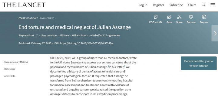 Το περιοδικό The Lancet δημοσιεύει επιστολή γιατρών: «Σταματήστε τα βασανιστήρια και την ιατρική αμέλεια στον Τζούλιαν Ασάνζ»