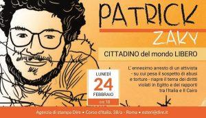 'Patrick Zaky – Cittadino del mondo libero': incontro alla Dire il 24 febbraio