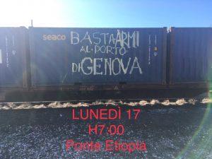 """Genova, presidio dei portuali contro l'arrivo della """"nave delle armi"""""""