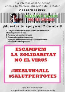 Escampem solidaritat i no el virus és el missatge dels moviments socials europeus pel pròxim 7 d'abril