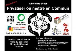 Rencontre-débat : Privatiser ou mettre en Commun