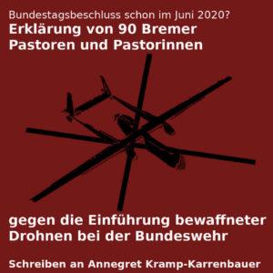 Erklärung von 90 Bremer Pastorinnen und Pastoren gegen bewaffnete Drohnen