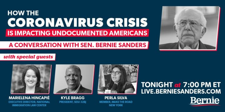 WATCH: Bernie Sanders to Host Livestream Discussion on the Coronavirus Pandemic and Undocumented Immigrants