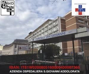 """Coronavirus, iniziativa umanitaria per aiutare l'ospedale""""San Giovanni"""" a Roma"""