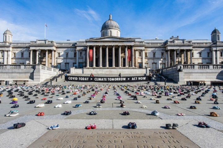 Extinction Rebellion put thousands of kid's shoes in Trafalgar Square urging government to remember children during coronavirus recovery