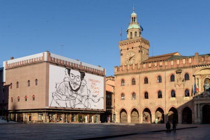 La richiesta di libertà per Patrick Zaki abbraccia Piazza Maggiore a Bologna
