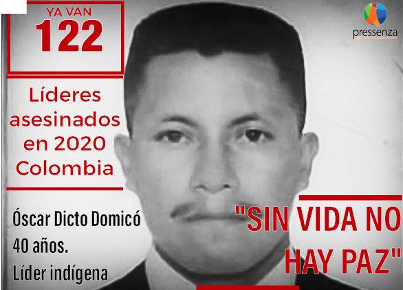 Óscar Dicto Domicó Domicó, líder Indígena asesinado en Colombia