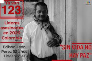 Edison León Pérez, líder social asesinado en Colombia