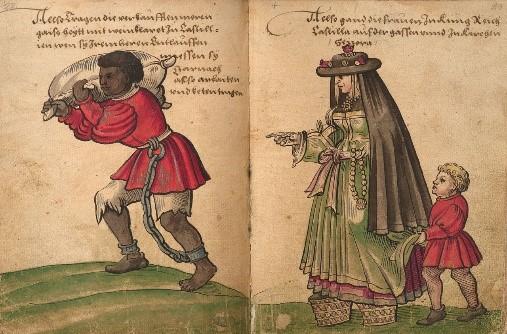 Cristoph Weiditz, 1520. Esclavo encadenado en España, cargando pellejo de vino.