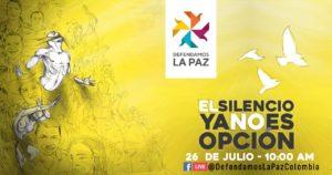 Colombie – Le silence n'est plus une option : Journée pour la vie des dirigeants et des signataires de la paix