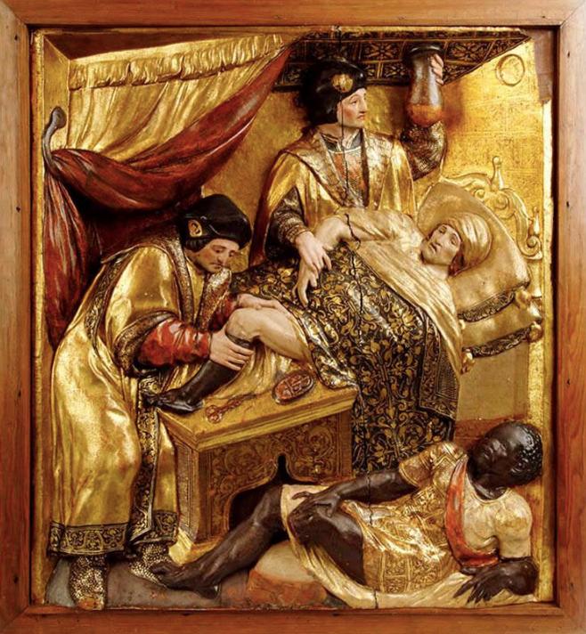 Milagro de San Cosme y San Damián, relieve en madera, atribuido a Isidoro de Villoldo, siglo XVI. Museo Nacional de Escultura de Valladolid.