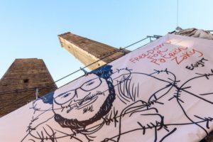 Bologna issa sulla Garisenda il grido di libertà per Patrick Zaki