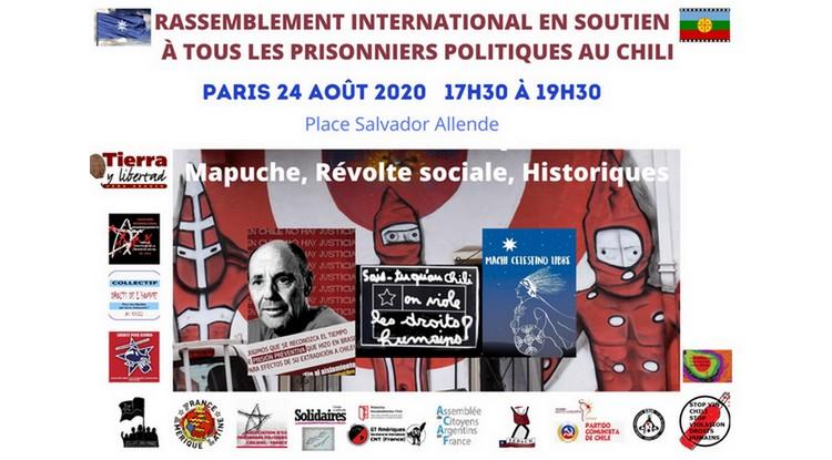 Un nouveau rassemblement aura lieu à Pars ce lundi 24 août pour soutenir les prisonniers politiques au Chili