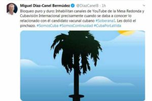 Diaz-Canel, blocking of digital channels is reaction to Soberana 01
