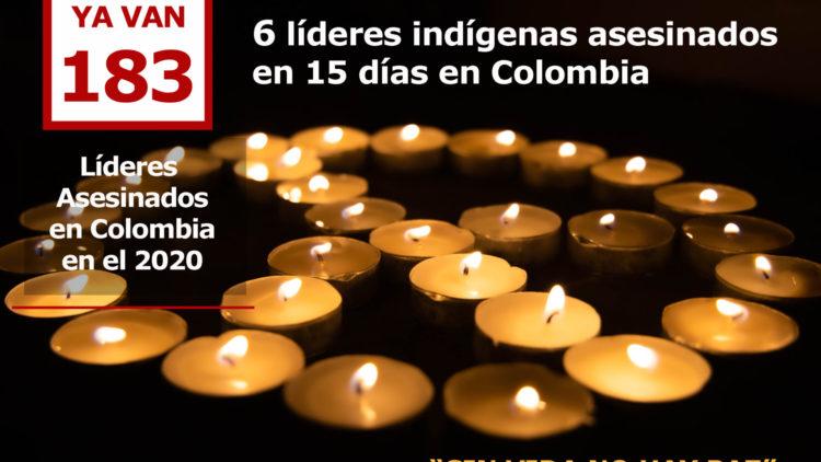 6 líderes indígenas asesinados en Colombia en las últimas dos semanas