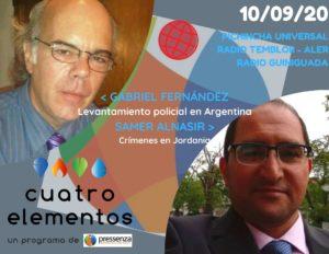 Cuatro Elementos 10/09/2020 Jordania y levantamiento policial en Argentina