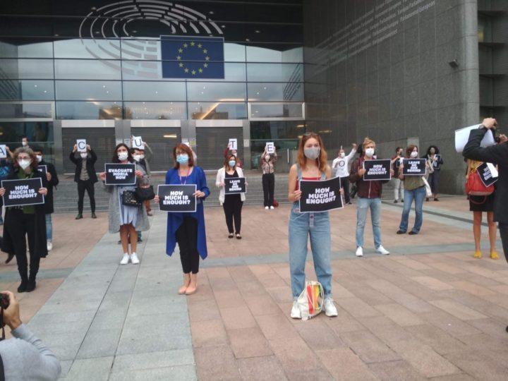 Evacuate Moria, Now ! Manifestazione davanti al Parlamento europeo a Bruxelles