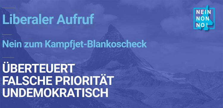 Liberaler Aufruf zum Abstimmungskampf in Schweiz: NEIN zum Kampfjet-Blankoscheck!