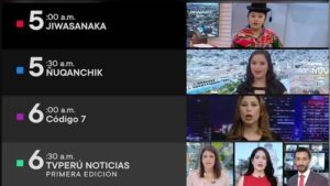 Peru's state TV broadcasts 23 hours in Spanish daily but only 1 hour in indigenous languages