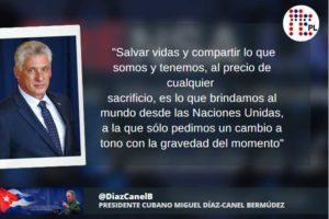 La divisa de Cuba es salvar vidas y compartir, Díaz-Canel en ONU