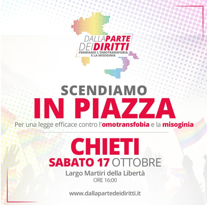 Sabato 17 ottobre anche Chieti scende in piazza #dallapartedeidiritti