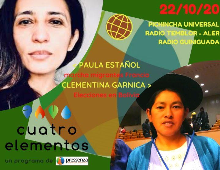 Cuatro Elementos del 22/10/2020 Triunfo del MAS – IPSP en Bolivia y Marcha de Migrantes en París