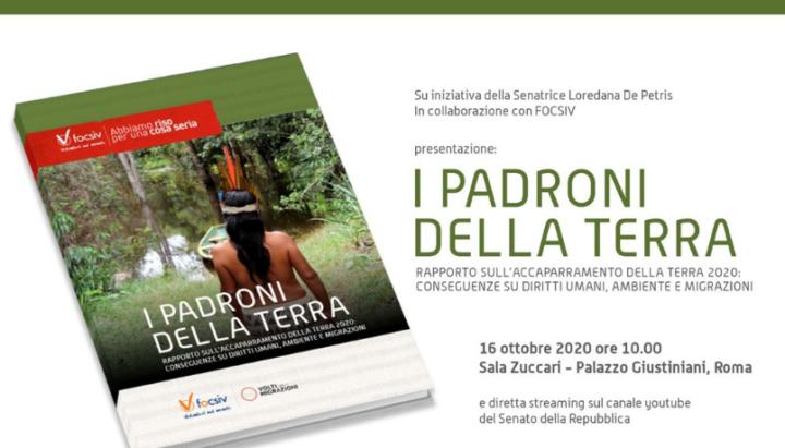 """Roma, presentazione del Terzo Rapporto """"I Padroni della Terra"""""""