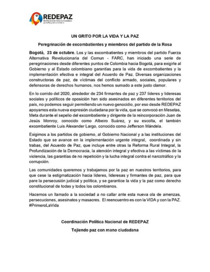 Pronunciamiento Redepaz frente a peregrinación de excombatientes de paz en Colombia
