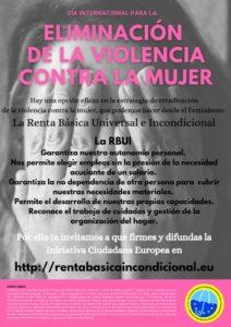 La renta básica ayudaría notablemente a la eliminación de la violencia contra la mujer
