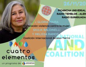 Cuatro Elementos 26/11/2020 25N y Coalición Internacional por el Acceso a la Tierra