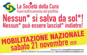 Appello per il 21 novembre: fuori dall'economia del profitto, per una società della cura