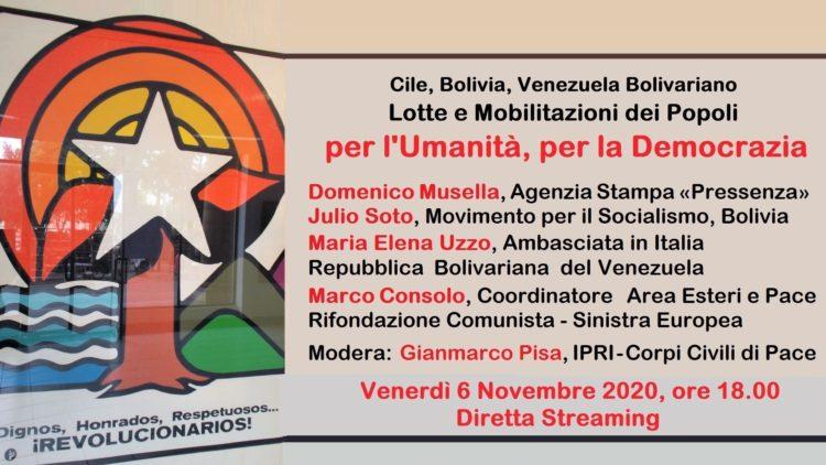 cile bolivia venezuela bolivariano per l'umanità per la democrazia 06 Novembre 2020
