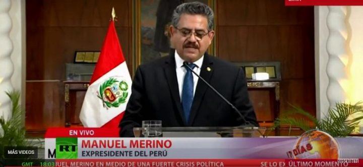Renuncia el presidente interino de Perú, Manuel Merino