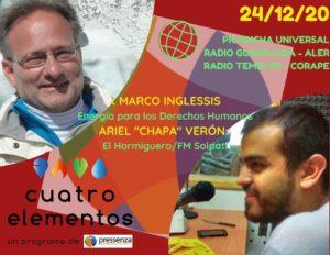 Cuatro Elementos 24/12/2020 El Hormiguero (Argentina) y Energía para los Derechos Humanos (Italia)