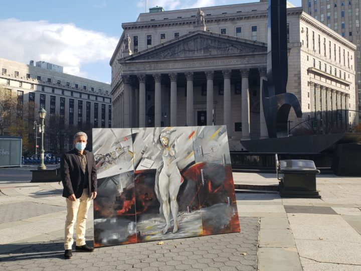 Exposición de la obra «Constitución» ante las cortes de Nueva York