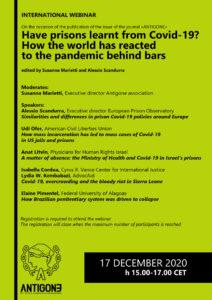 Covid e carcere. Un webinar internazionale per discuterne