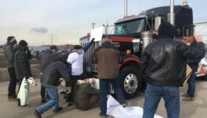 Activists block trucks at company transporting weapons to Saudi Arabia, demand Canada stop fuelling war in Yemen