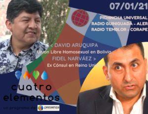 Cuatro Elementos 07/01/2021 Unión libre homosexual en Bolivia y rechazo extradición Assange a EEUU