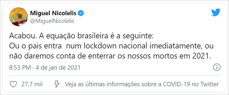 Tuíte Nicolelis