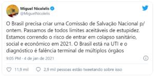 """""""Ou Brasil entra em lockdown ou não daremos conta de enterrar nossos mortos"""", diz Nicolelis"""