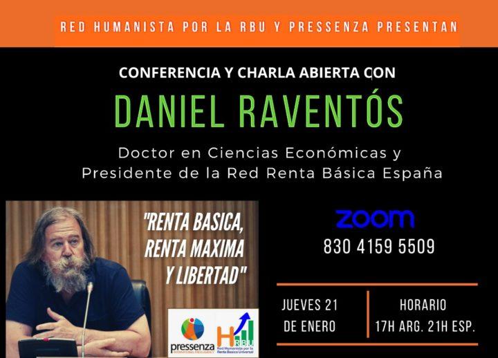 21 Enero: Conferencia sobre Renta Básica, Renta Máxima y Libertad, a cargo de Daniel Raventós
