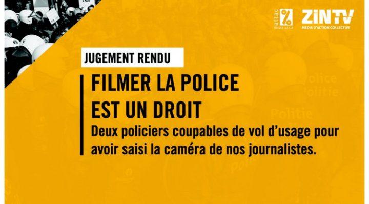 Belgique Filmer la police est un droit