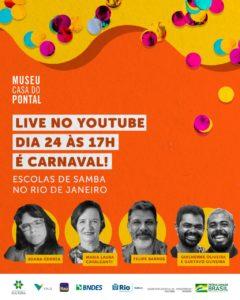 """Museu Casa do Pontal faz live """"É carnaval! Escolas de samba do Rio de Janeiro"""""""