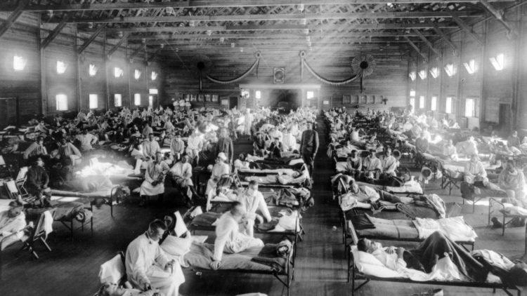 Emergency hospital during influenza epidemic, Camp Funston, Kansas.