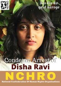The NCHRO condemns the arrest of activist Disha Ravi