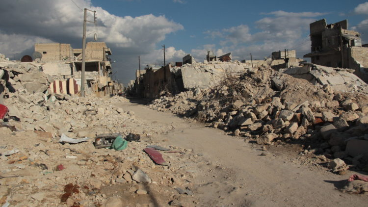 Destruction of Aleppo caused by a SKUD missile, March 2013